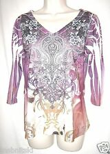 LOVE LIFE LIVE Women's M Purple Paisley Polyester Top V Neck 3/4 Sleeve Casual