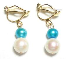 Genuine White & Blue Pearl 18K YGP Clip On Earrings