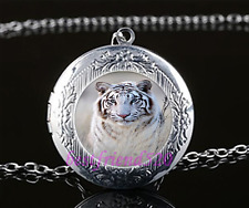 White Tiger Cabochon Glass Tibet Silver Chain Locket Pendant Necklace#A1