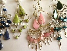 100 pairs EARRINGS, ALPACA SILVER and SEMIPRECIOUS STONES, Peruvian Jewelry