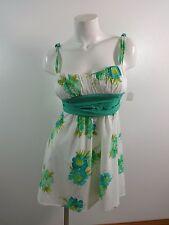 TRIXXI ADORABLE WOMENS AQUA & WHITE FLORAL COTTON SUN DRESS SIZE JUNIORS 5