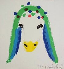 """Menashe Kadishman """"a sheep with green"""" hand signed lithograph limited edition of"""