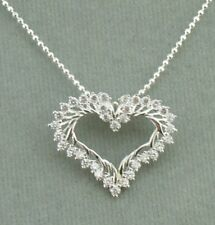 Sterling Silver Cubic Zirconia Heart Pendant Necklace 925 Jewelry NEW