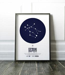 Zodiac Star Signs Print / Picture Gemini / Modern / Minimalist Wall Art