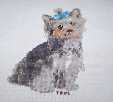 """COMPLETED Trixie Yorkshire Terrier Counted Cross Stitch 5"""" x 6"""""""
