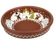 Christmas Winter Pattern Round Ceramic Baking Dish Oven Small Clay Plate 6""