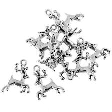 10pcs Stag Deer Reindeer 3D Beads Tibetan Silver Charms Pendant Fit DIY 17*23mm