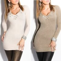 Women's fine knit Jumper Pullover Top with studs Long sleeve One size 8/10
