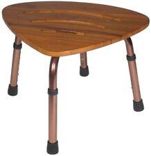 Shower Bath Bench Teak Wood Stool Seat Adjustable Height Legs Durable Safety