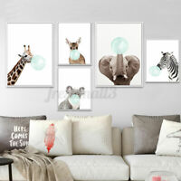 Funny Animal Canvas Poster Deer Koala Elephant Baby Art Print Kid Bedroom Deco
