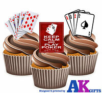 PRECUT Poker Playing Cards 12 Edible Cupcake Toppers Decorations Birthday Party