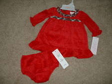 Chaps Christmas Holiday Dress Set Size 3M 3 Months Red Velour NWT NEW Baby Girls