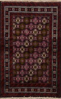 Tribal Traditional Balouch Geometric Area Rug Hand-Knotted Oriental Carpet 3'x5'