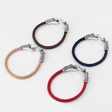 Mens Boys Genuine Leather Braided Bracelet Bangle Wristband Dragon Jewelry Gifts