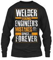 Supersoft American Welding Hood Welder Mig Weld - Gildan Long Sleeve Tee T-Shirt