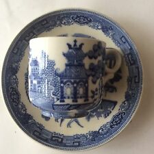 Antique Willow pattern cup and saucer.
