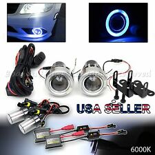 "JDM STYLE 3"" BLUE HALO PROJECTOR FOG LIGHTS + DUAL SWITCH+6000K HID FOR NISSAN"