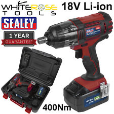 """Sealey Cordless Impact Wrench 1/2"""" Drive 18V 3Ah Battery Charger 400Nm Torque"""