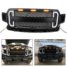 Front Grill Honeycomb Raptor Style W/LED Amber for Ford F150 F-150 2018 2019