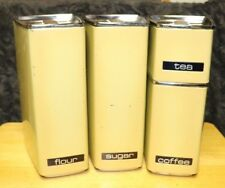 Vintage Lincoln Beautyware 4 PC Stackable Canister Set  Yellow USA