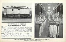 1930s Printed Postcard Railway Post Office Burlington Railroad Mail Car Unposted