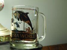 Sea World *Shamu* Orca~Killer Whale w/ Dolphins & Seagulls (Glass Mug) BlackFish