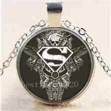 Superman,  Star and Skull Cabochon Glass Tibet Silver Chain Pendant Necklace