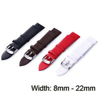 8-22mm Sweat-proof Genuine Leather Watch Band Strap Bracelet Steel Metal Clasps