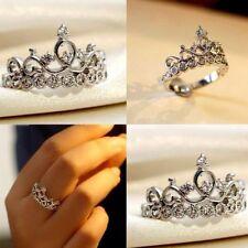 Women Crown 1.5ct AAAAA zircon cz 925 Sterling silver Engagement Wedding Ring