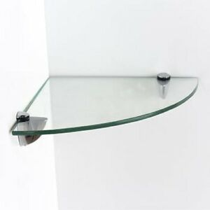 CLEAR GLASS CORNER BATHROOM TOILET SHELF WALL MOUNTED 25CM X 25CM GLASS KITCHEN