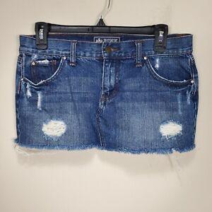 Victoria's Secret Pink mini denim blue jean skirt distressed womens size 4