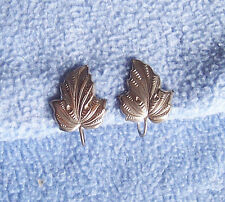 "vintage silver-tone LEAF CLIP EARRINGS leaves screw-back nice details  1"" tall"