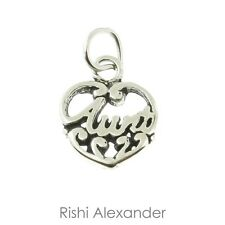 Aunt Filigree Heart Shaped .925 Solid Sterling Silver Charm MADE IN USA