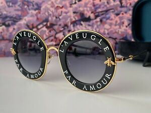 🔥 Gucci GG0113S 001 Black Gold Sunglasses Gray Lens L'Aveugle Par Amour