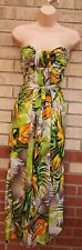 ZUPPE GREEN BROWN WHITE TROPICAL FLORAL BELTED LONG MAXI SUMMER DRESS 8 S