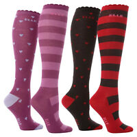 ELLE - 2 Pack Girls Cotton Knee High Long Socks | Striped & Hearts Style