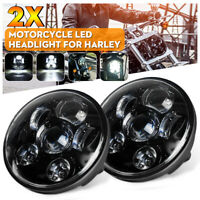 2X 5.75'' Motorcycle LED Headlight Projector Hi-Lo Beam Head Lamp For Harley AU