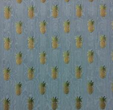 """WAVERLY PINEAPPLE GROVE SKY BLUE MOIRE FURNITURE JACQUARD FABRIC BY YARD 54""""W"""