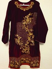 Micro Velvet Hand Embroidered Asian Ready Made Shirt Size S/M/L