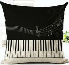 "17x17"" Square Cushion Cover Pillow Case Xmas Piano Music Home House Cute"