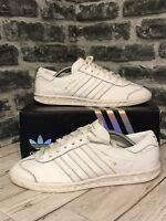 Adidas Originals Hamburg Trainers UK Size 9 White Leather S79750