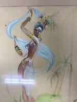 Vtg Original Brazilian Woman Topless Painting Illustration Art Drawing Fruit Hat