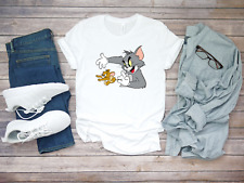 Tom and Jerry Character funny Short Sleeve White Men's t Shirt K170