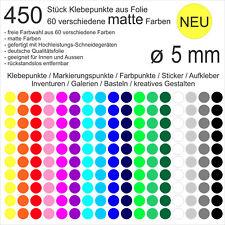 450 Stück Klebepunkte aus Folie matt rund 5mm Aufkleber Sticker Inventur NEU