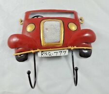 COLORFUL CAR DESIGN PAINTED WALL IRON HAND CRAFTED HANGER 2 HOOKS