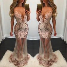 BRAND NEW Sequin Mesh Pink Maxi Formal Prom Bridesmaid Evening Party Dress XS-L