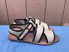 NEW Loeffler Randall Size US 8 Beige Cross Strap Leather Flat Sandal Buckle A5