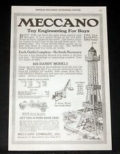 1919 OLD MAGAZINE PRINT AD, MECCANO CONSTRUCTION SETS, TOY ENGINEERING FOR BOYS!