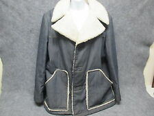 Vintage John Blair Classic Demin Coat Jacket w/ Faux Wool Lining & Collar Large