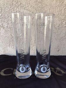 "Set of 2 Warsteiner .41 L Tall Beer/Pilsner Glass Etched  91/2"" Tall"